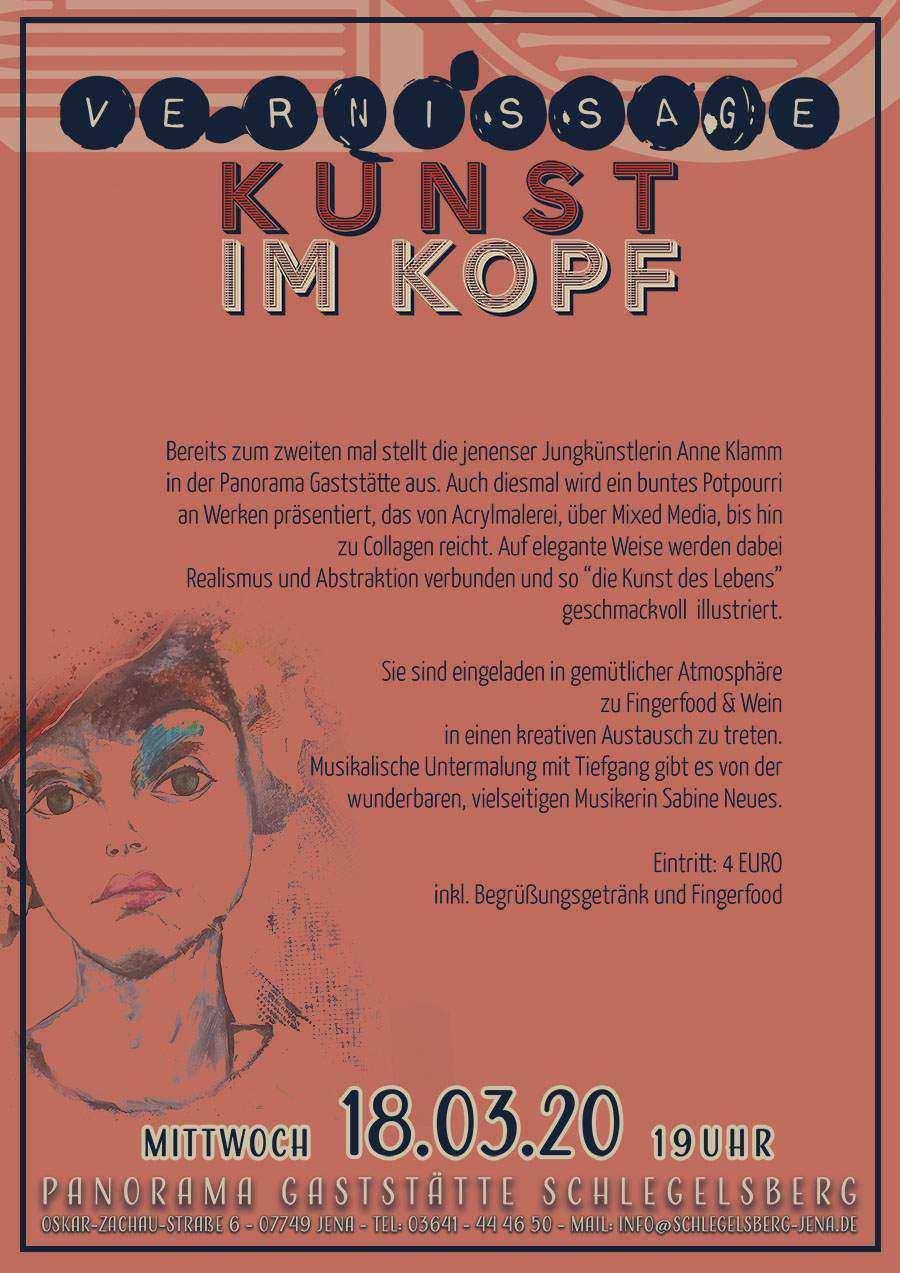 Vernissage Kunst im Kopf - Mittwoch,18.03.2020 der Künstlerin Anne Klamm