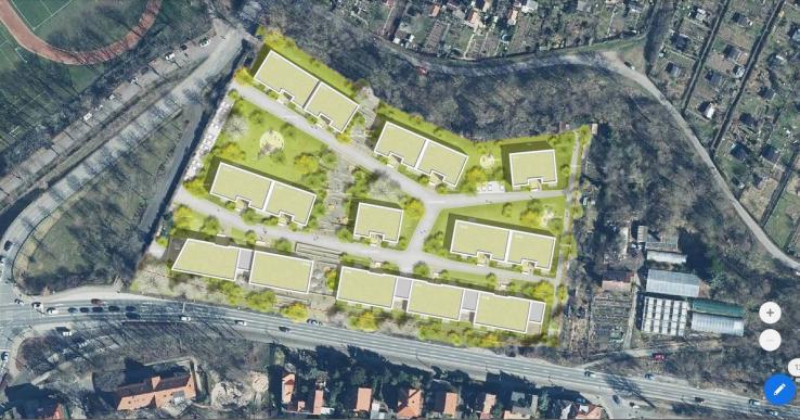 Die Lage des neuen Wohngebietes – unten die Karl-Liebknecht-Straße