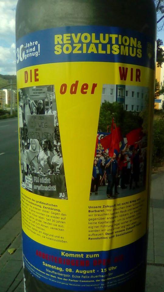 """Unterdessen hat die FDJ ein revolutionäres """"Arbeiter Open Air"""" für den Samstag, 08.08.2020 in Jena - Lobeda ab 15.00 Uhr geplant."""