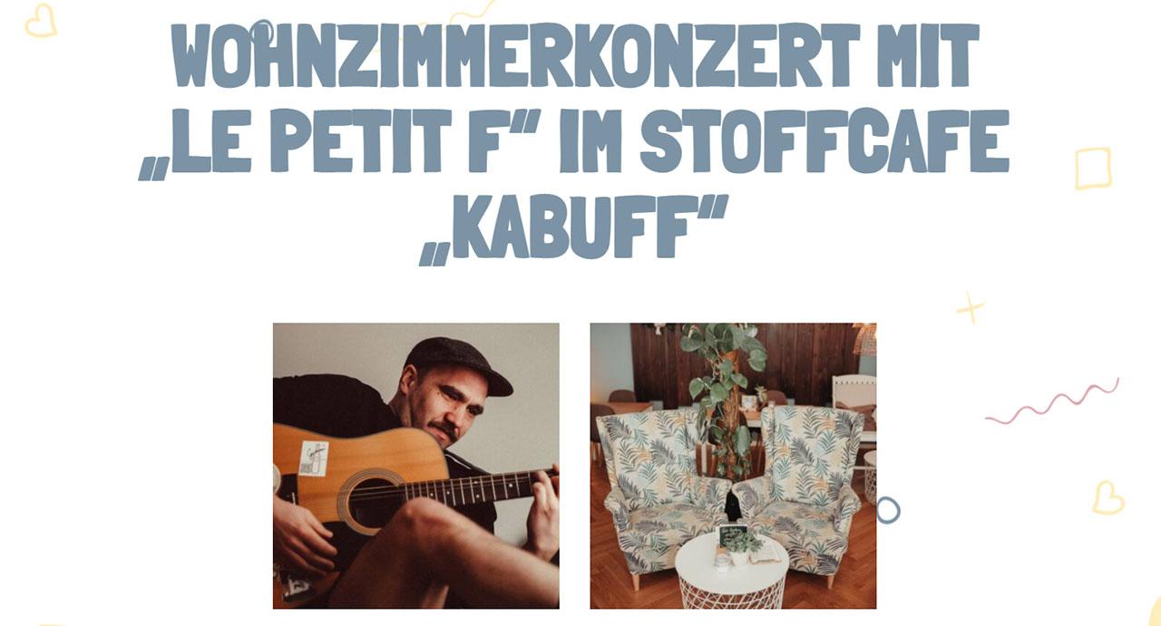 """kabuff mit den beiden Musikern Watson und Alex von der Band Faroul – hier als """"le petit f"""" – im Wohnzimmerkonzert"""