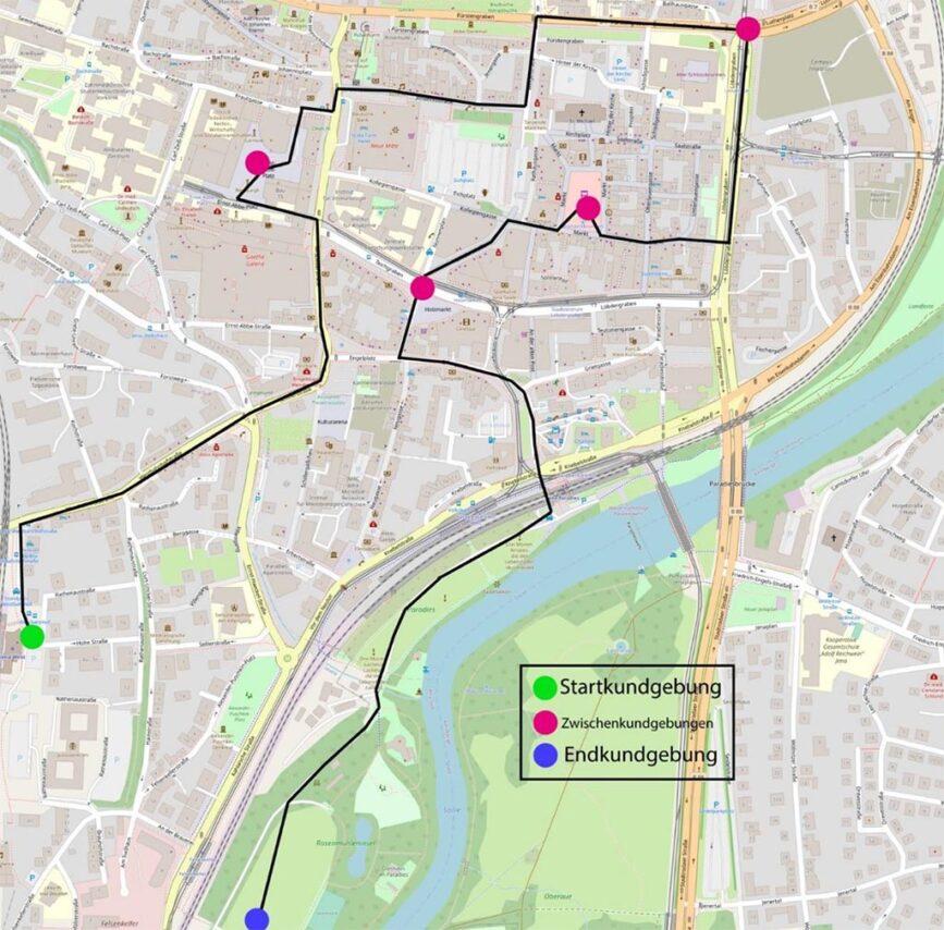 Start mit der Demonstration um 12 Uhr am Westbahnhof und Zwischenkundgebungen in Richtung Jenaer Innenstadt