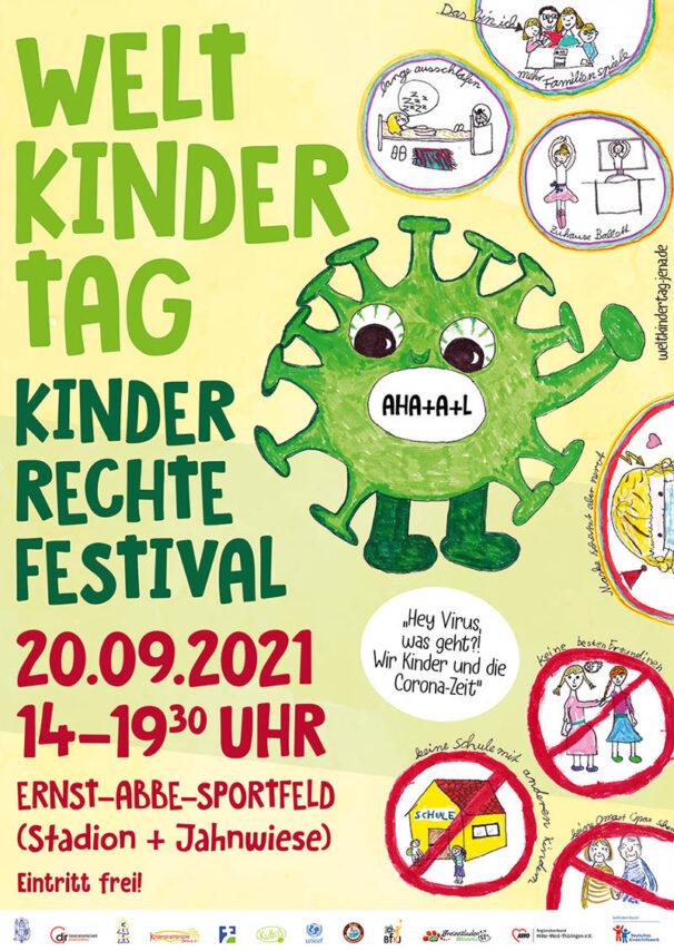 Jena feiert am 20. September 2021 den Weltkindertag im Paradies. // Grafikflyer Stadt Jena